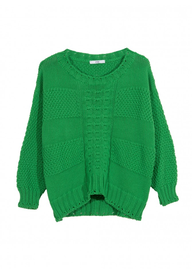 LEPOWER - Short cut patterned knit jumper - ANGE