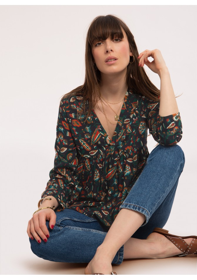 BALEARES - Blouse a manches longues imprime exclusif - ANGE