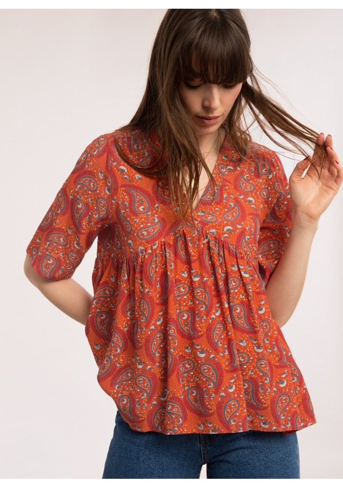 BALEARES-MC - Sort sleeves printed blouse - ANGE