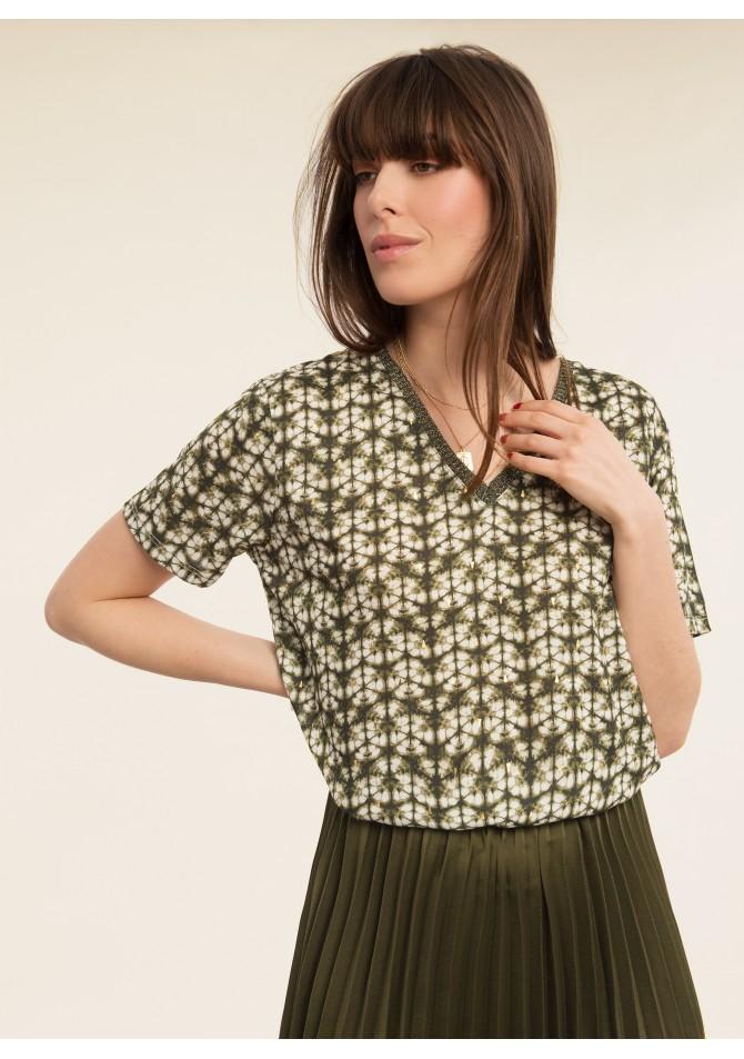 TWISTY - T-shirt imprimé détails dorés - ANGE