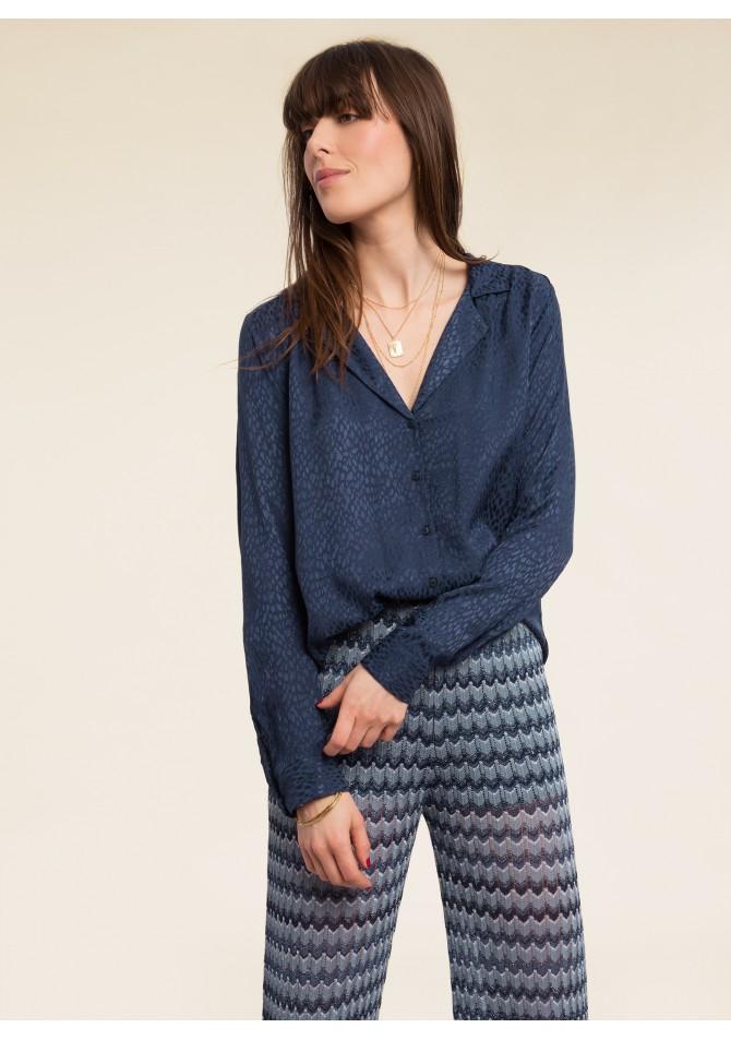 BASTIA UNI - Chemisier col pyjama details moires - ANGE