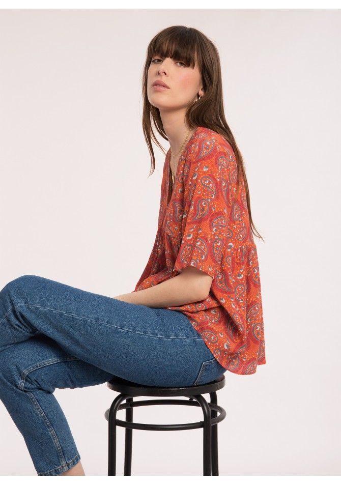 BALEARES-MC - Sort sleeves printed blouse - ANGE