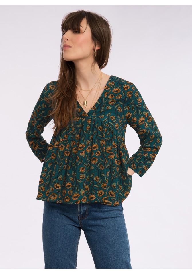 BALEARES - Long sleeves printed blouse - ANGE