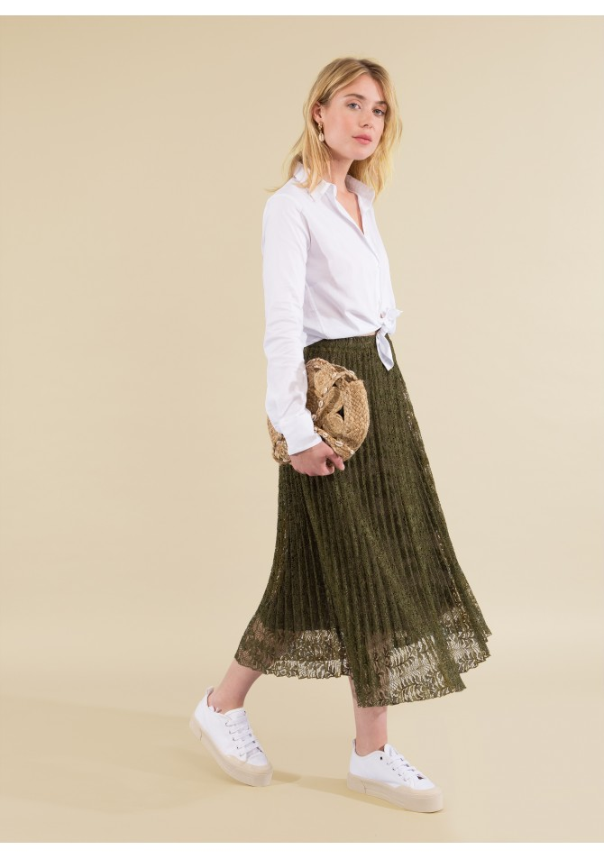 JULIE - Lace pleated midi skirt - ANGE