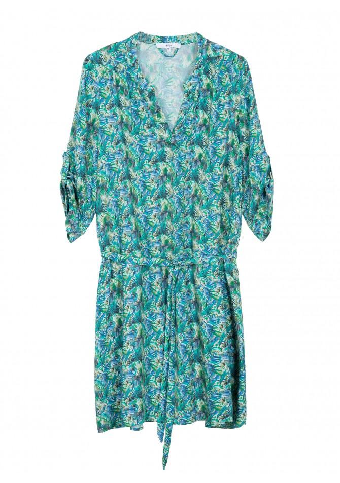 FADO - 3/4 sleeves short printed dress - ANGE