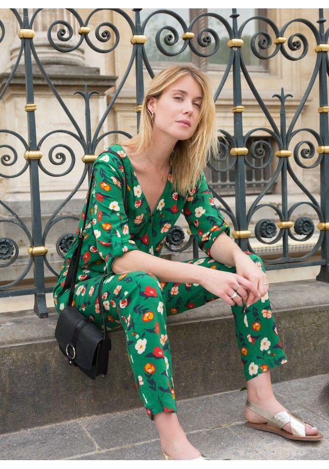 PARIS - Trousers printed 100% viscose - ANGE