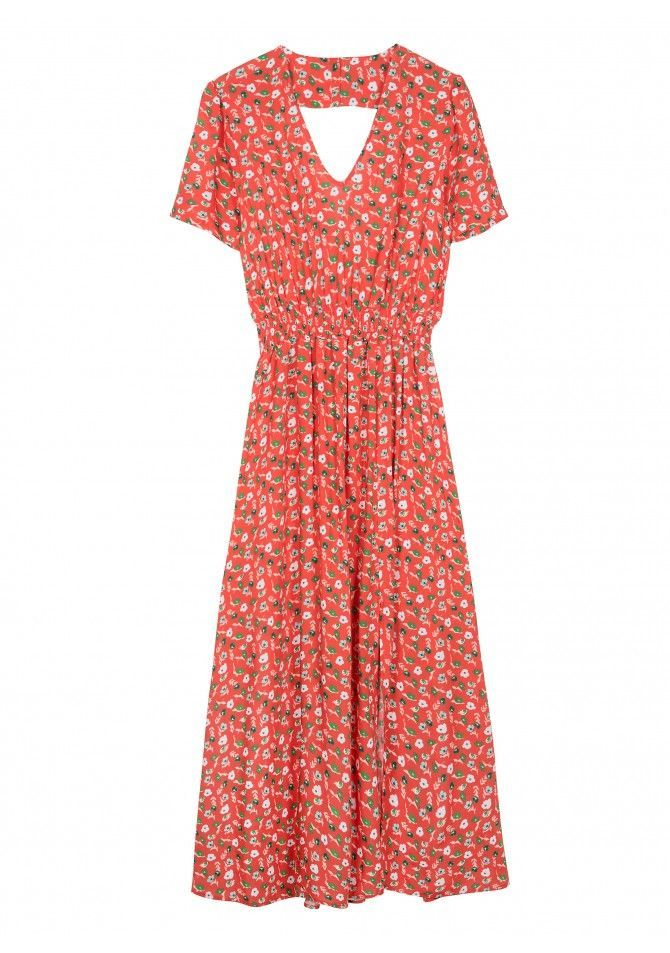 FINE - Backless maxi lenght printed dress - ANGE