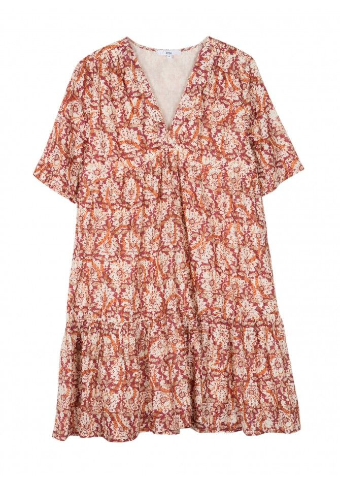 FELIXY-MCIMP - Short sleeves coton printed dress - ANGE