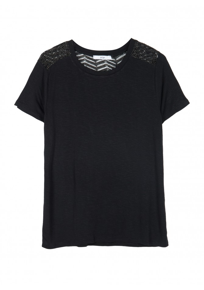 TALISSA - Rond collar t-shirt with lace knit details - ANGE
