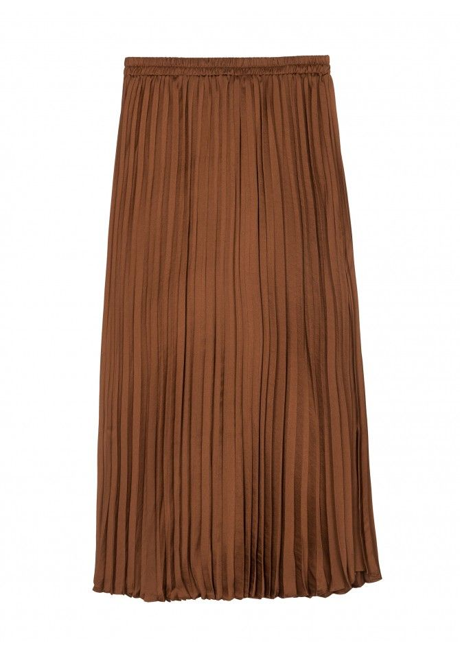 JICEO37 Satin pleated length midi skirt ANGE
