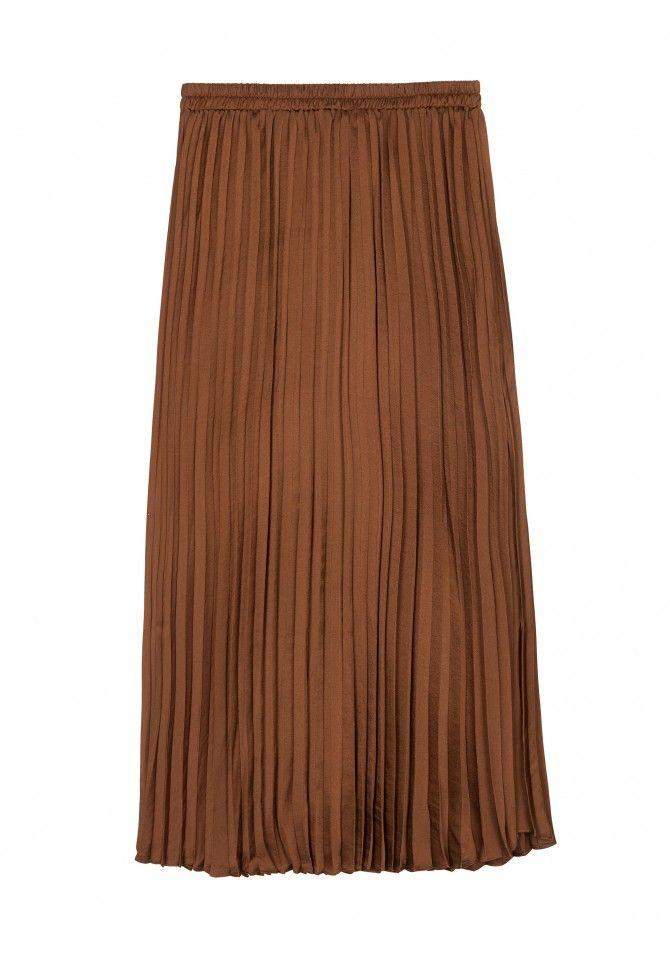 JICEO37 Satin pleated length midi skirt ANGE